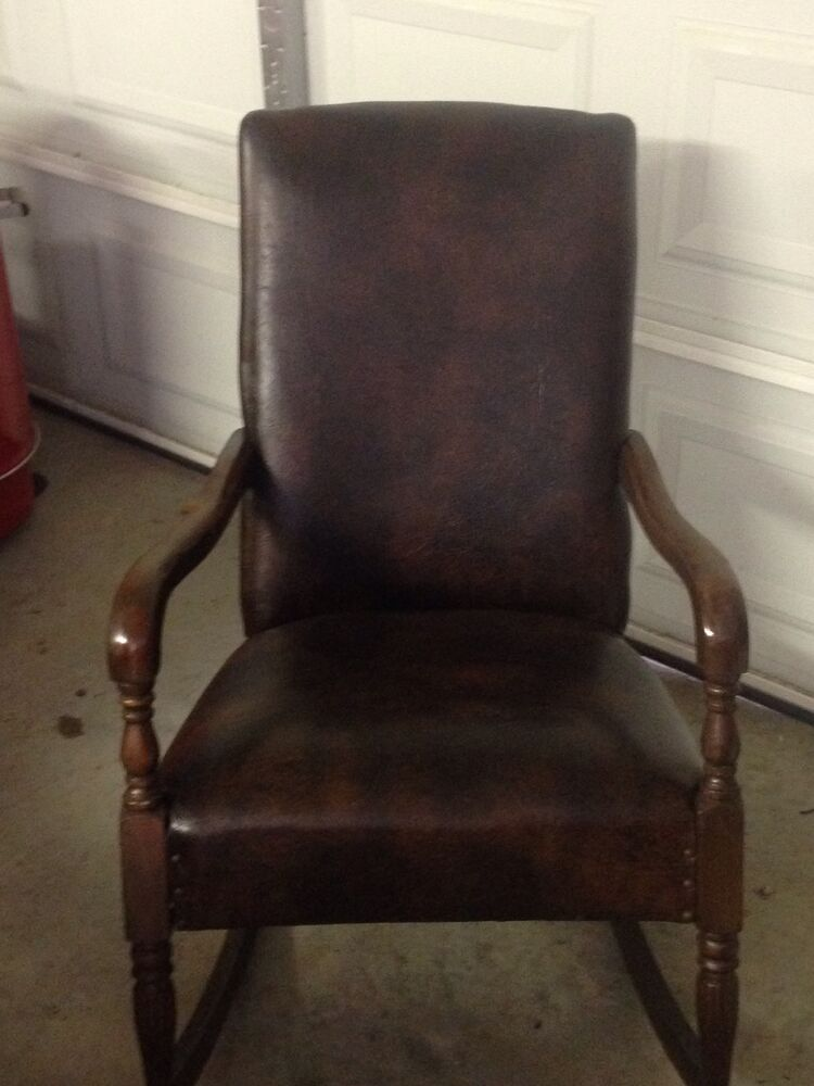 Antique/Vintage adult rocking rocker arm chair dark brown leather look ...