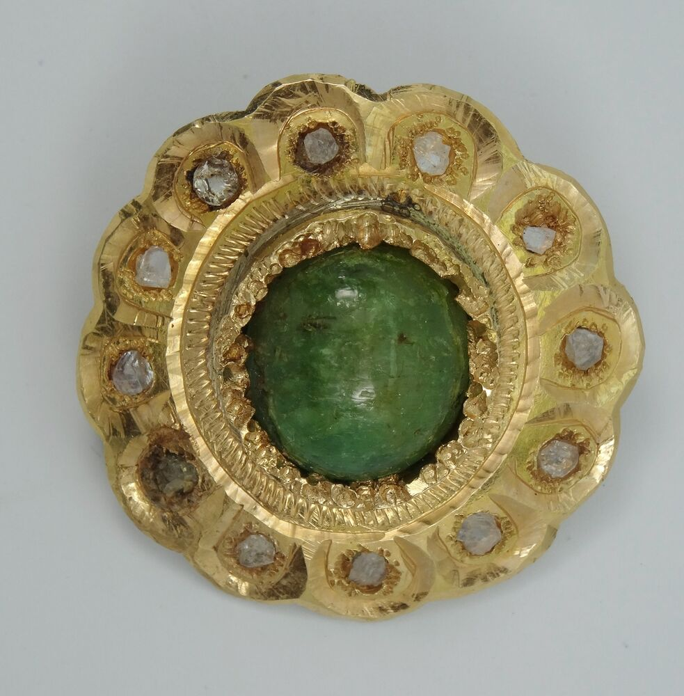 Antique 18c Handmade 18k Gold With Cabochon Jade
