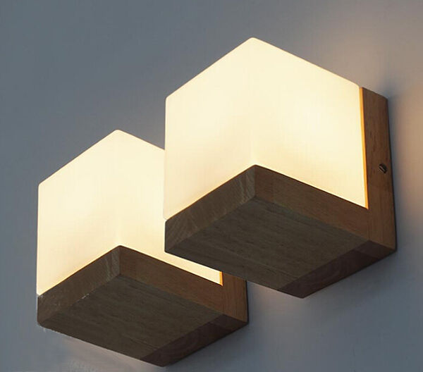 oak solid wood wall lamp glass cover light diy lighting