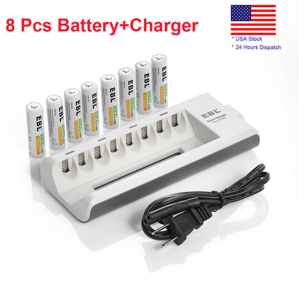 8 x 2800mah ebl rechargeable aa battery aa aaa universal rapid battery charger ebay. Black Bedroom Furniture Sets. Home Design Ideas