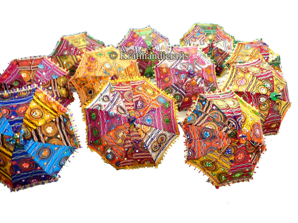 Lot of 10 pcs wholesale multicolor umbrellas indian for Decor umbrellas
