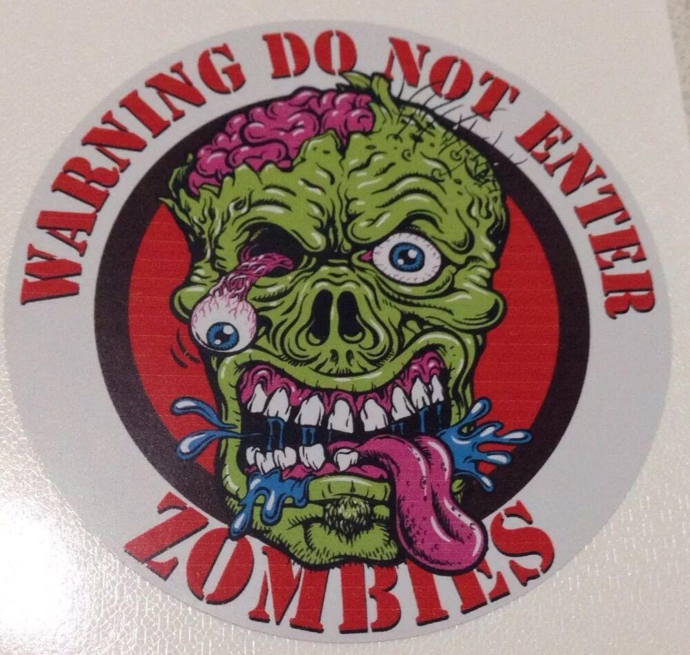 Zombie Warning Sticker Decal Bio Hazard Horror Car Truck