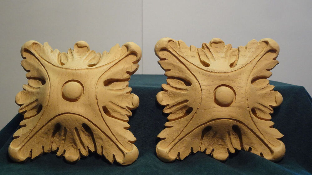 Pair of large square rosettes resin accents appliques for Decorative millwork accents