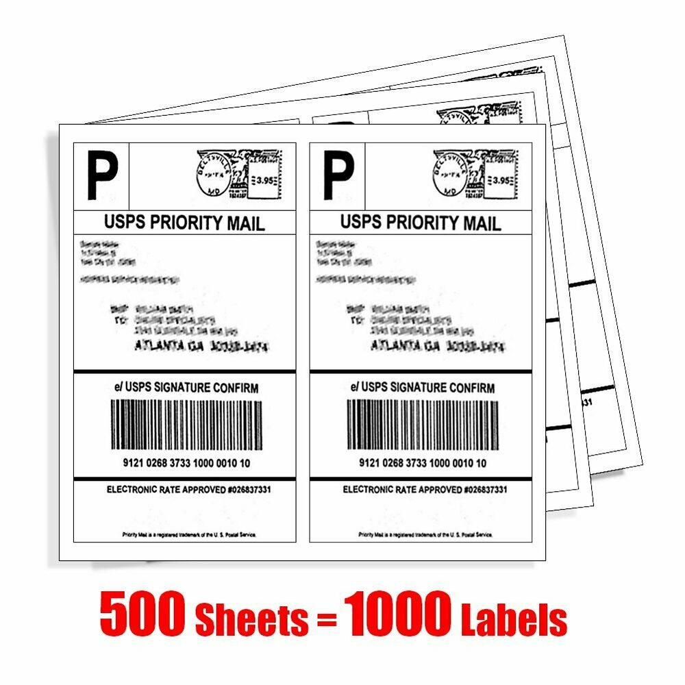 1000 half sheet shipping labels 85x55 self adhesive 2 for Half page shipping labels