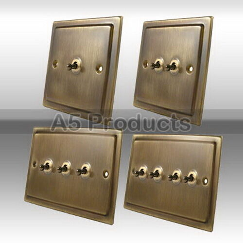 Brushed Brass Light Switches: 10A Toggle Dolly Light Switch 1, 2, 3 & 4 Gang Victorian Period Antique,Lighting