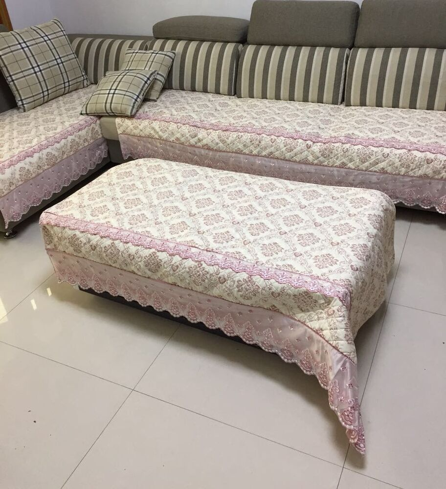 Quilted And Lace Custom Sectional Sofa Couch Slipcovers