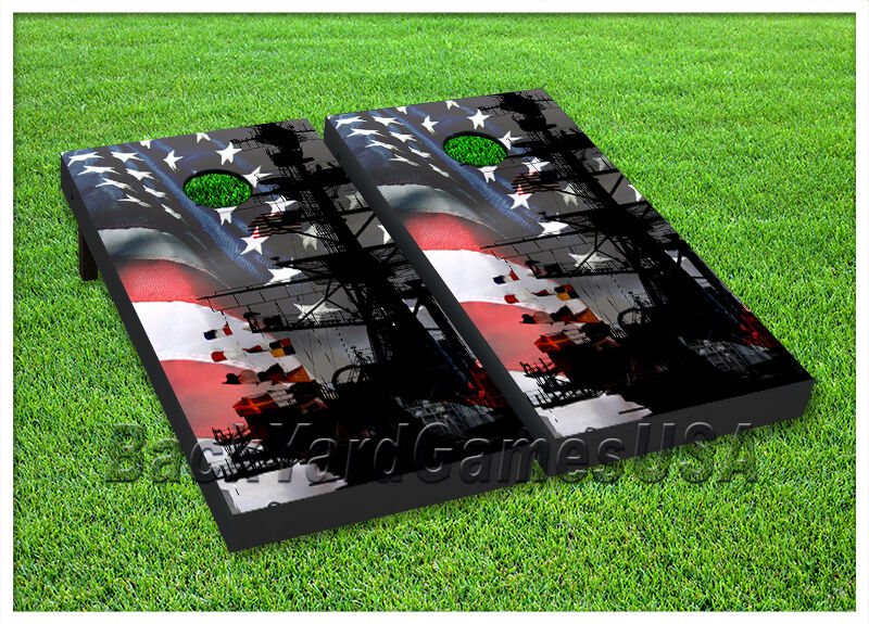 Vinyl Wraps Cornhole Boards Decals Usa Navy Ship Bag Toss Game Stickers