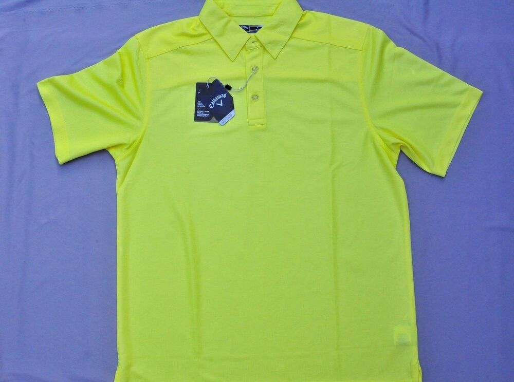 New callaway men 39 s chev embossed polo golf shirt yellow for Yellow golf polo shirts