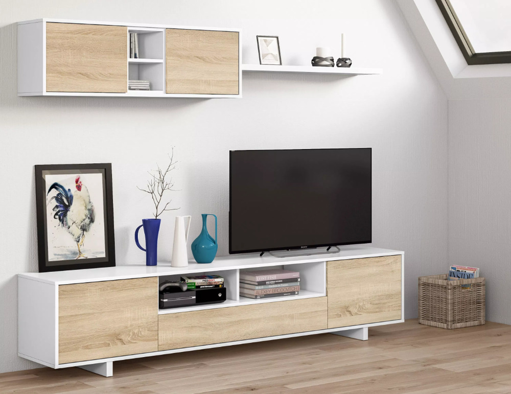 Bambi tv unit living room furniture set modular media wall white melamine ebay - Meuble bas tele ikea ...