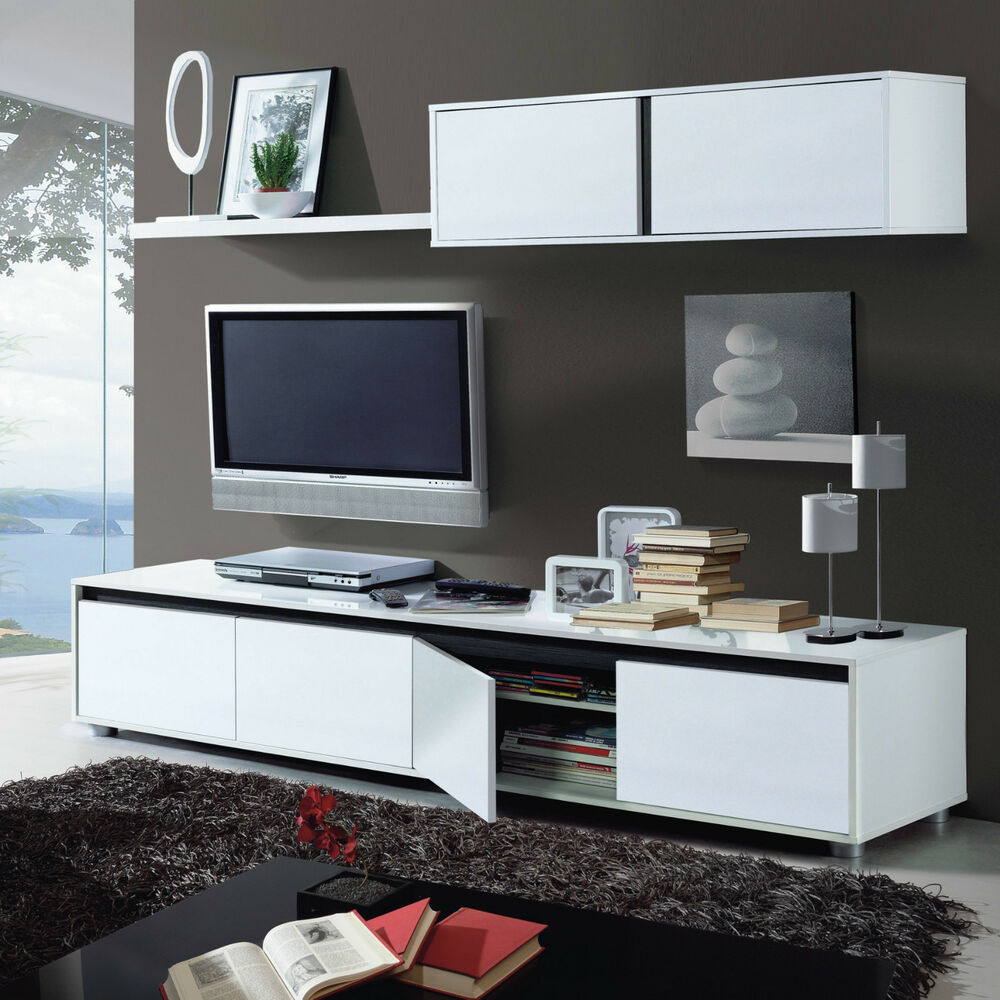 Amalia Tv Unit Living Room Furniture Set Modular Media Wall White Gloss Melamine Ebay