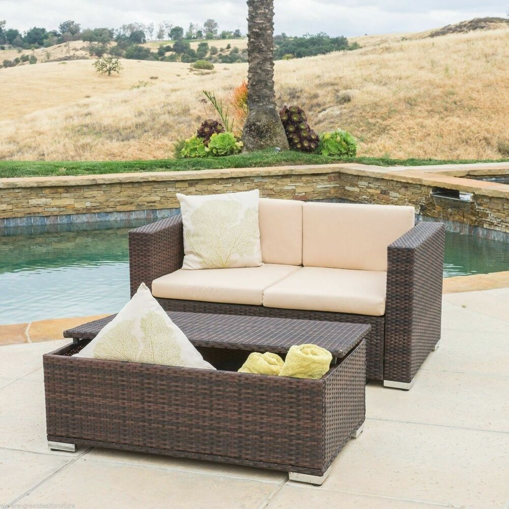 Outdoor Patio Furniture 2pc Brown PE Wicker Loveseat Sofa & Ottoman Set