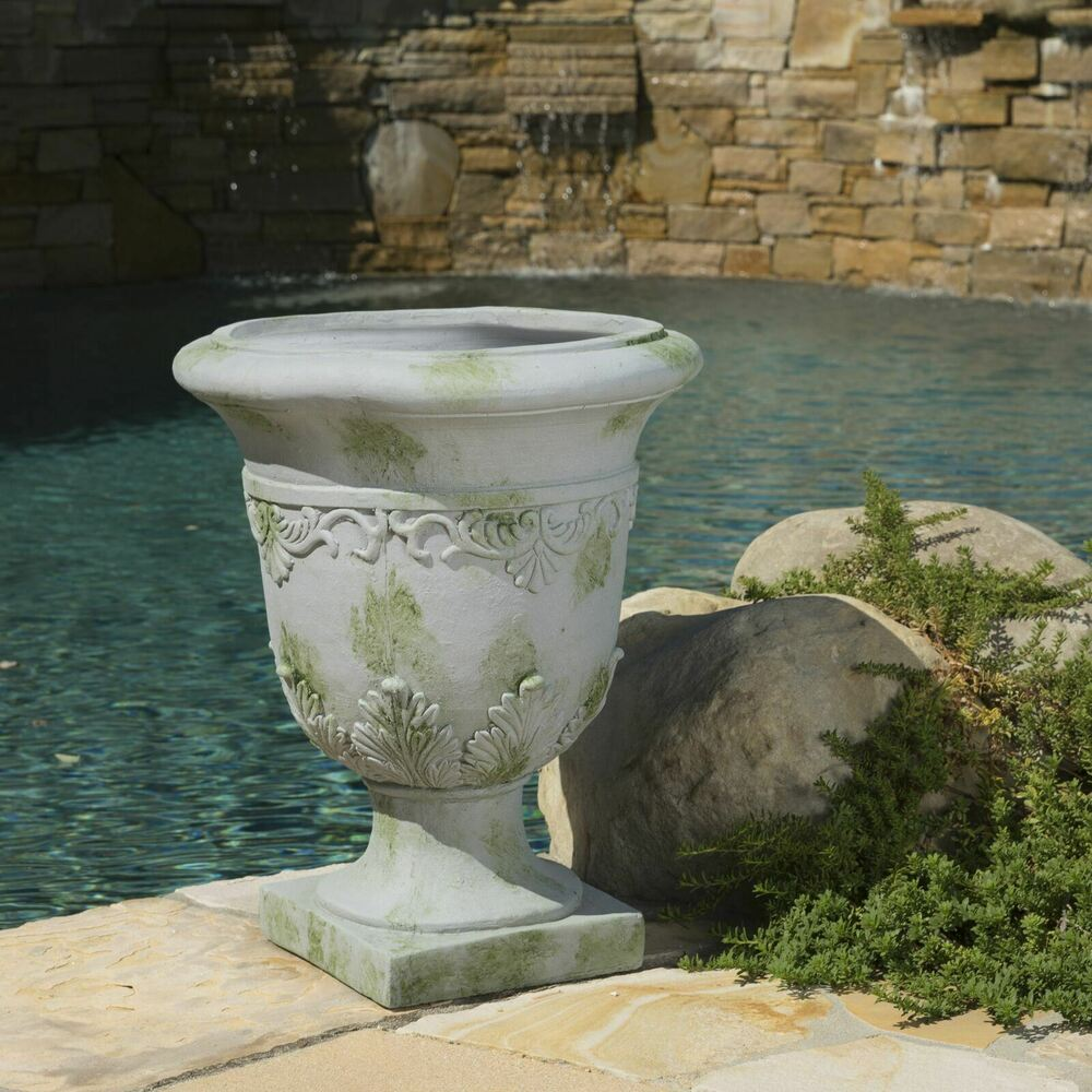 Tall Antique Grey Stone Roman Decor Outdoor Garden Urn