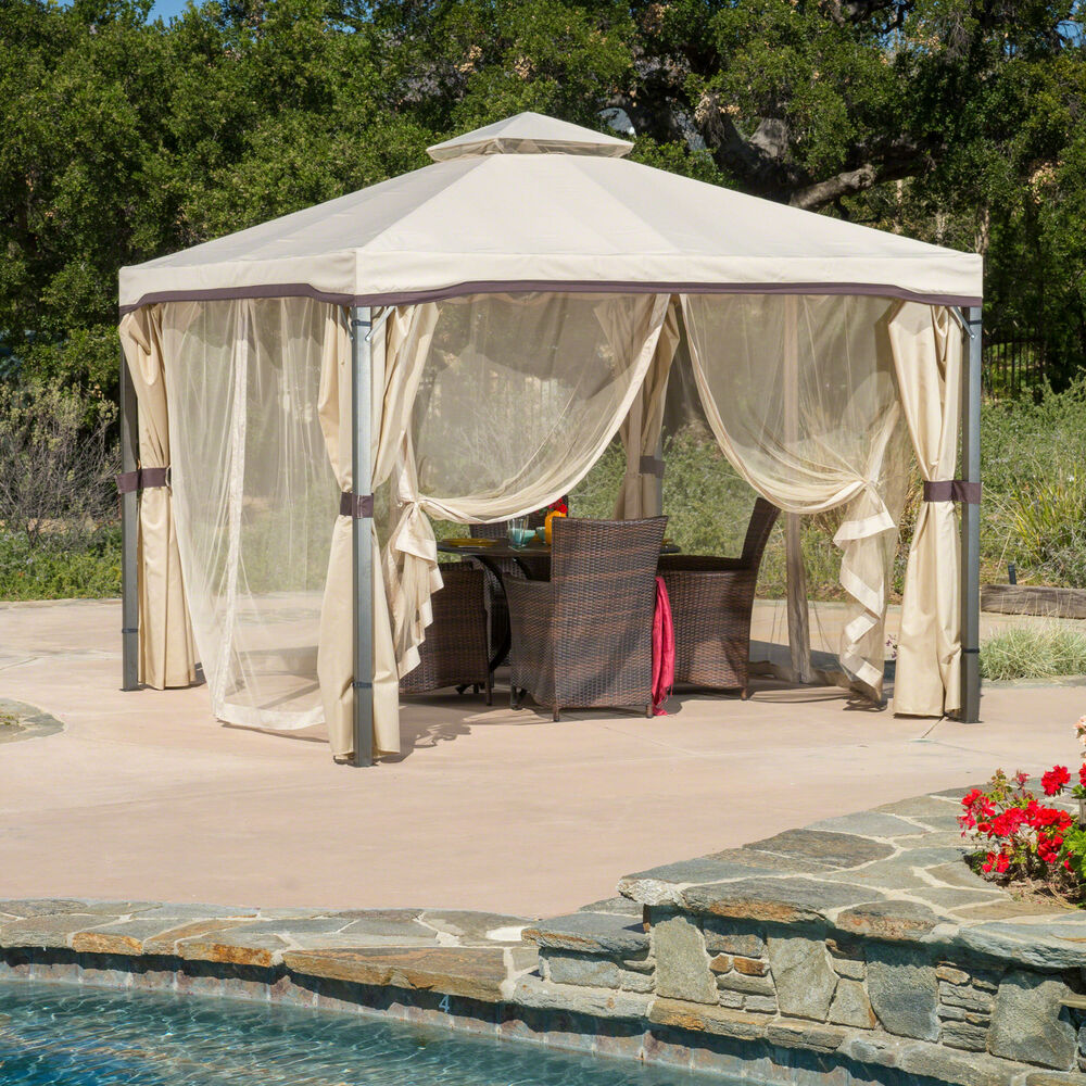 Outdoor Patio Furniture Iron Canopy Gazebo W Net Drapery