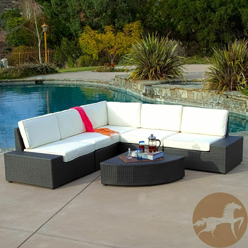 Outdoor patio furniture 6pc grey wicker sofa sectional set for Outdoor patio couch set