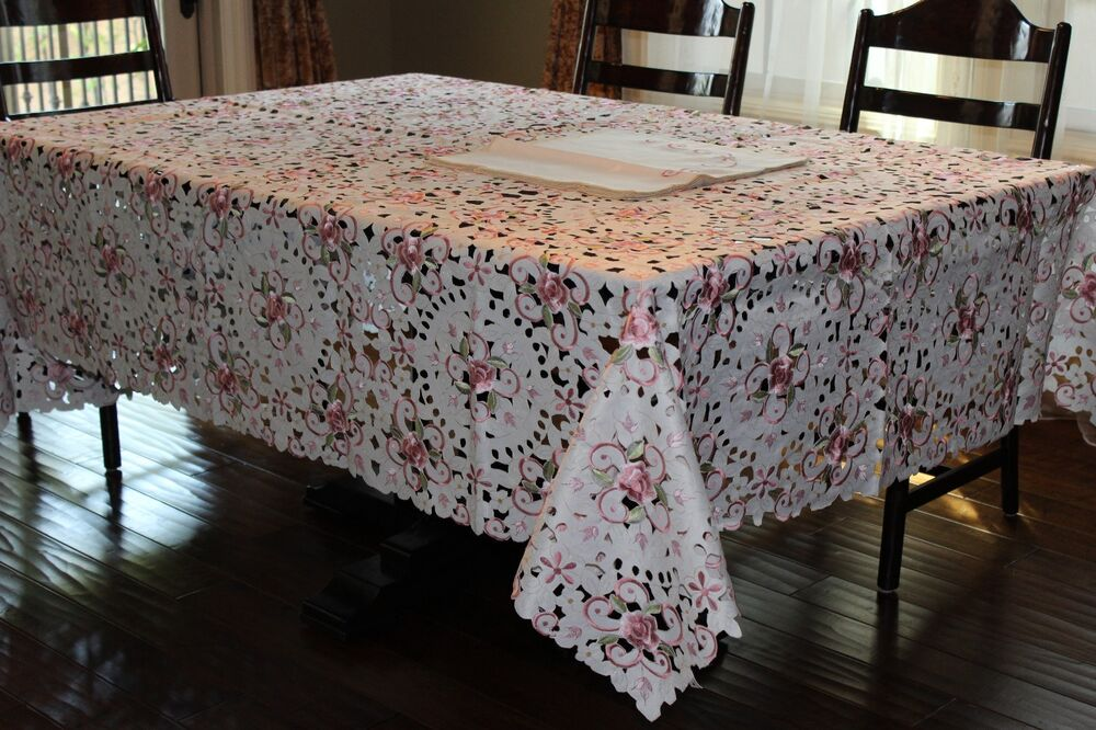 72 x126 large embroidered tablecloth camellia floral for Home decor 72