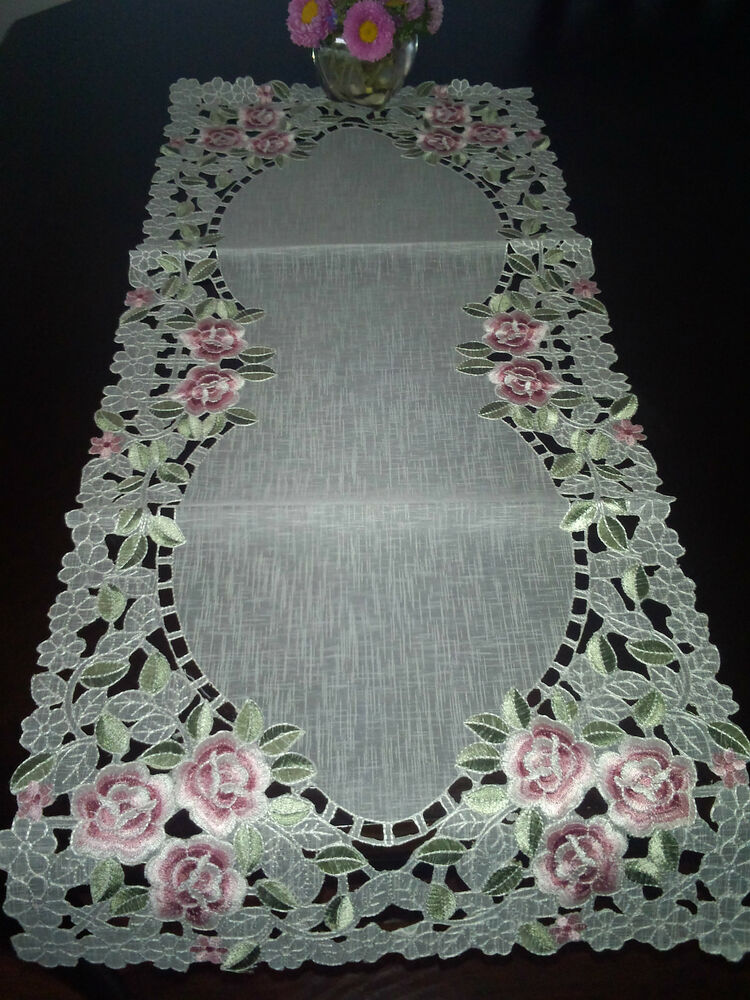 16 Quot X72 Quot Embroidery Tablecloth Pink Rose Organza Table