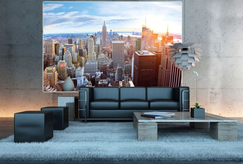 penthouse ber new york xxl fototapete panorama wohnzimmer wanddekoration poster ebay. Black Bedroom Furniture Sets. Home Design Ideas