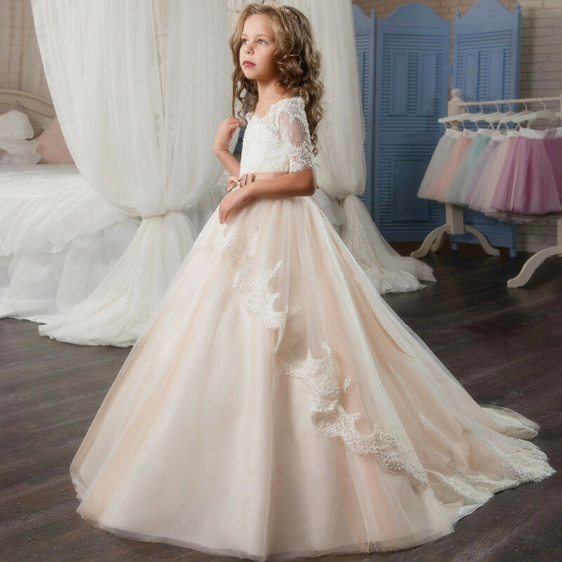 wedding dresses flower girl 2017 lace tulle tutu flower dress wedding easter 9311