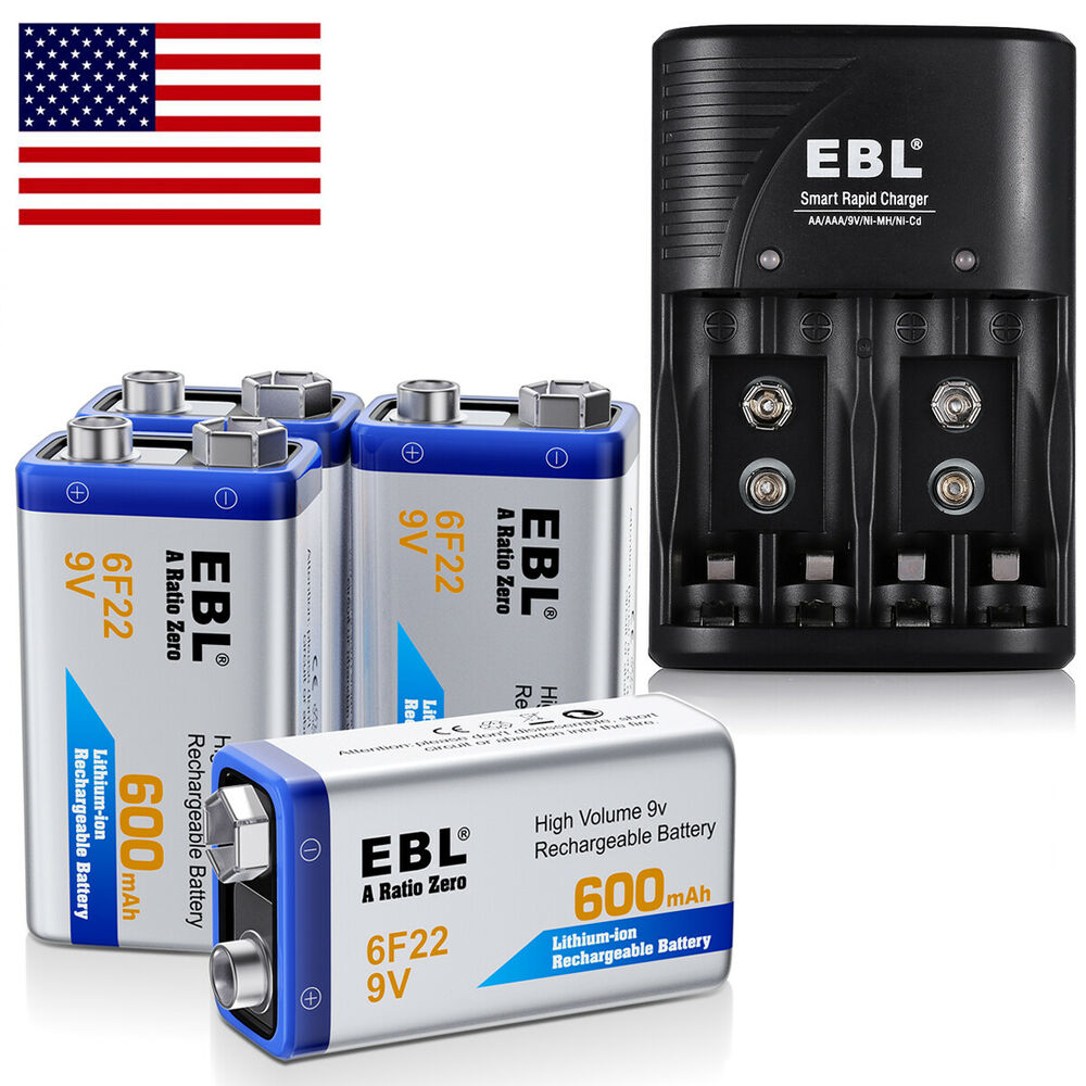 4x ebl 600mah li ion 9v 9 volt 6f22 rechargeable battery. Black Bedroom Furniture Sets. Home Design Ideas