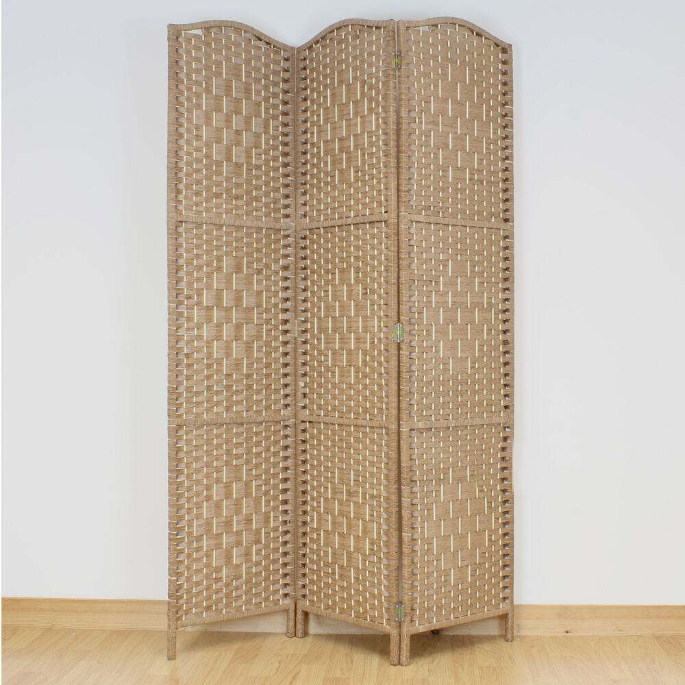 Natural brown 3 panel solid weave wicker room divider hand for What s a privacy screen