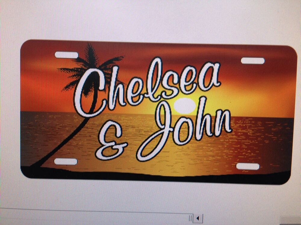 Personalized Beach Sunset License Plate Car Tag Initials