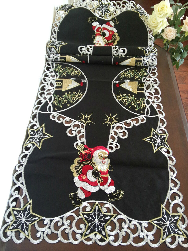 Embroidered Christmas Santa Tablecloth 15x52quot Black Table  : s l1000 from www.ebay.com size 750 x 1000 jpeg 180kB