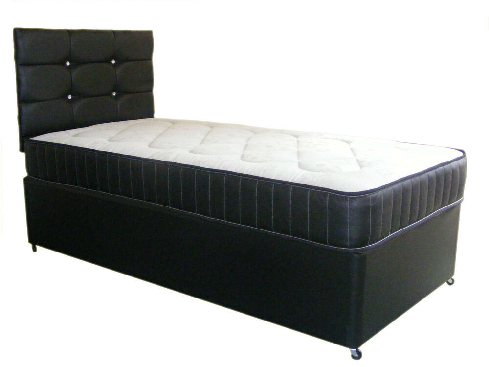 Black faux leather divan bed and mattress divan base for Divan bed sets with headboard