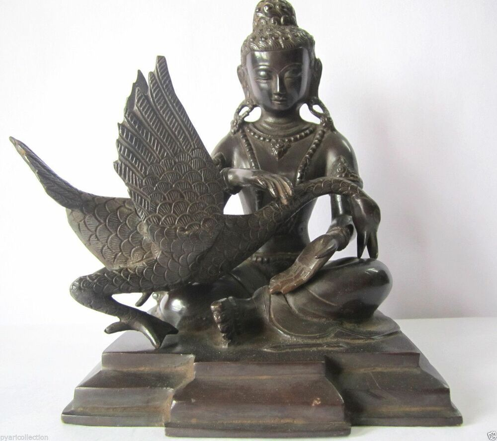 home decor antique finish luck charm buddha gautama statue with swan statue ebay. Black Bedroom Furniture Sets. Home Design Ideas