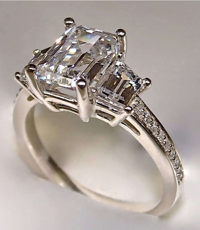 3 band wedding ring 2 78ct radiant cut 3 engagement ring with accents in 1085