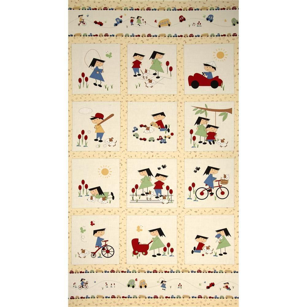 Vintage play cotton quilt panel children fabric bikes red for Childrens quilt fabric