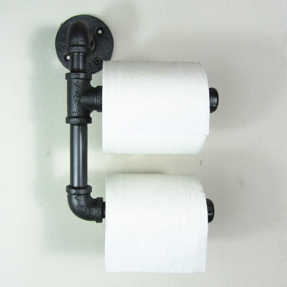 Urban Industrial Rustic Look Iron Pipe Double Toilet Paper