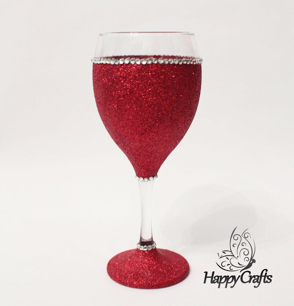 Glitter sparkle top base wine glass red ebay How to make wine glasses sparkle
