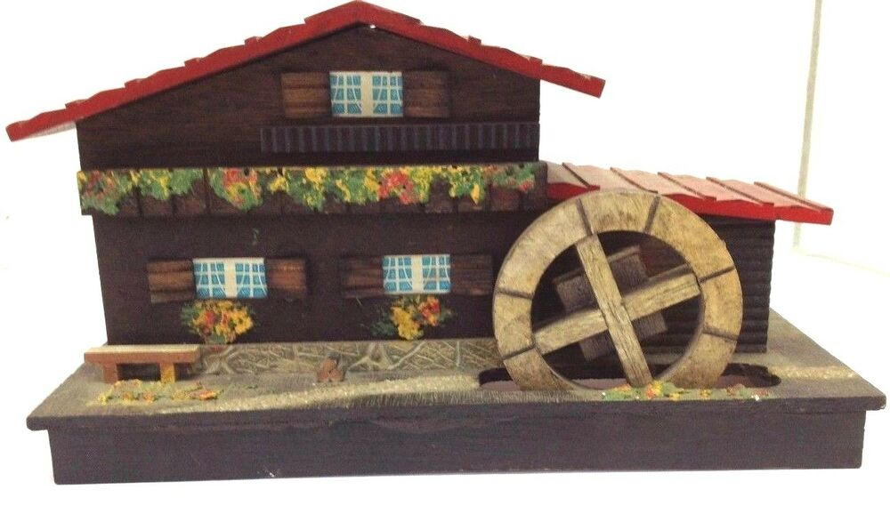 Vintage wooden chalet house music box with water wheel for Retro house music