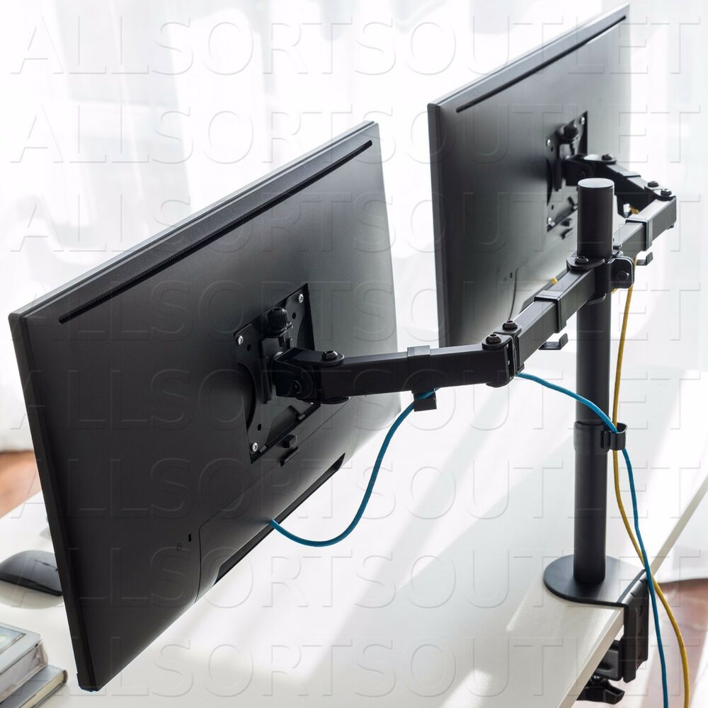 Dual Double Twin Lcd Monitor Stand Mount Arm Clamp