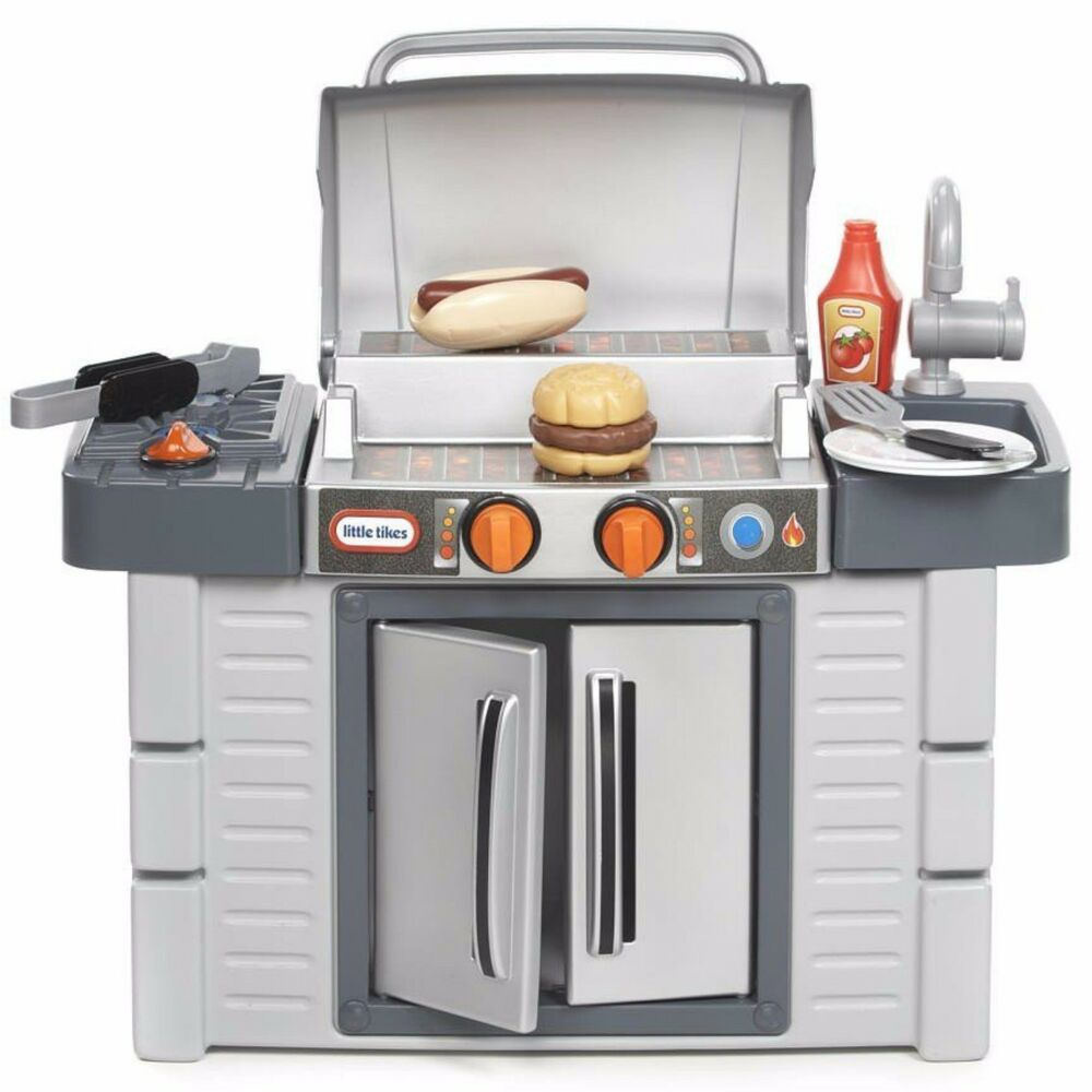 Bbq grill kids play kitchen set cook food chef bar outdoor for Toy kitchen set