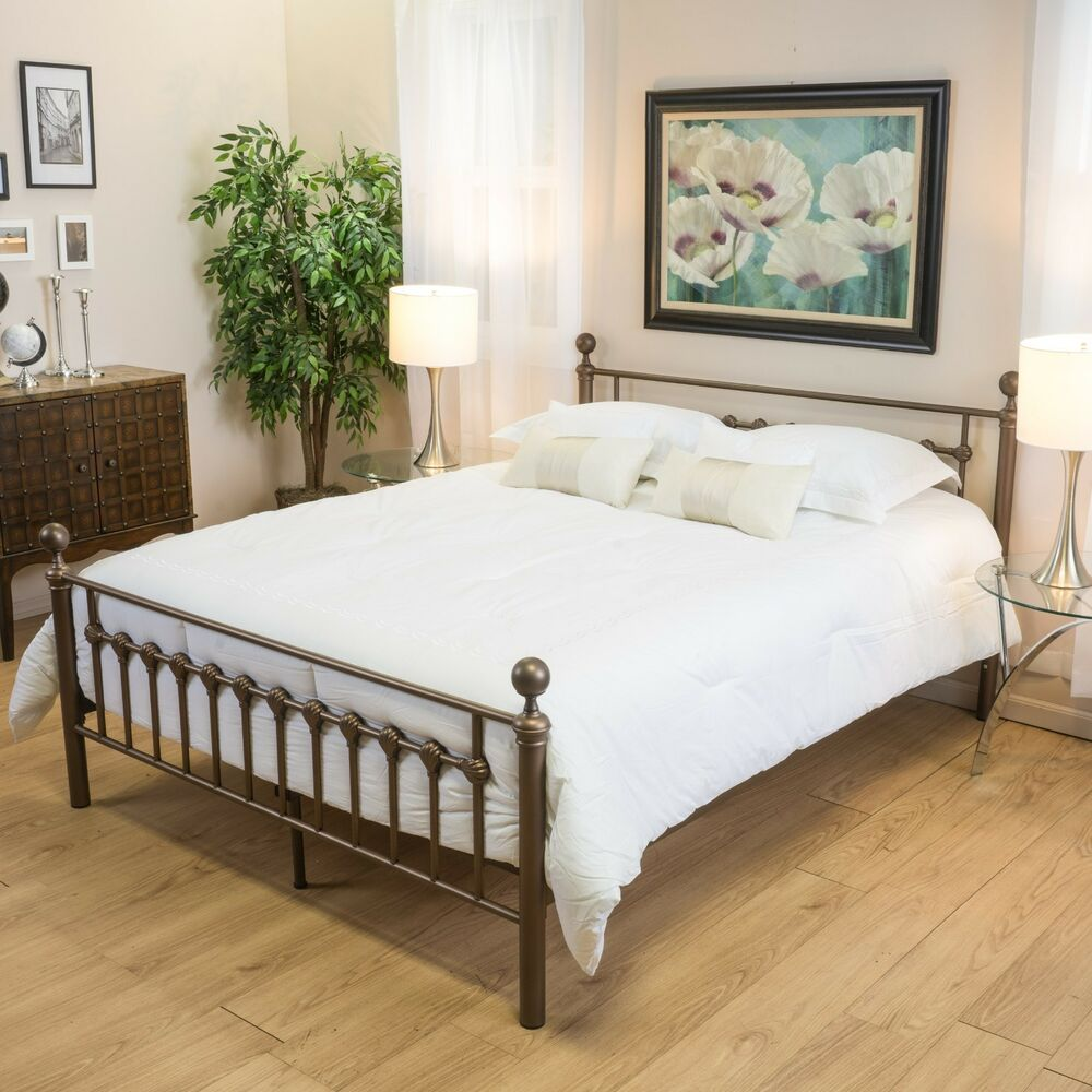 Bedroom Furniture Brown Iron Metal Queen Size Bed Frame Ebay