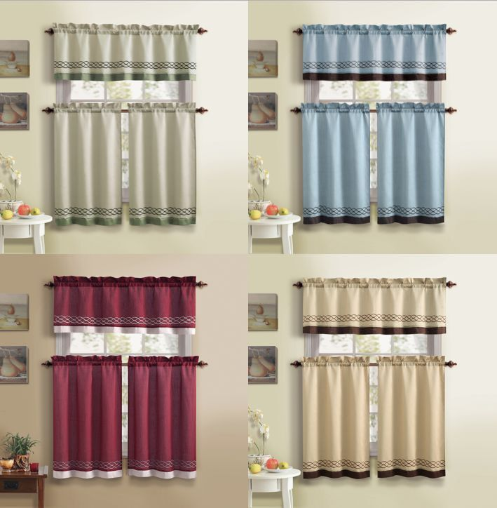 Bedford™ Embroidered Fabric Kitchen Curtain Set By GoodGram® - Assorted Colors