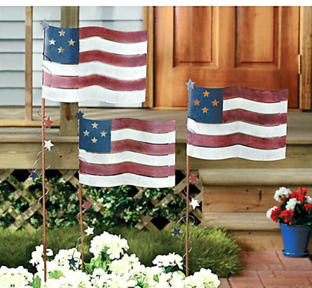 Set of 3 metal flag yard garden stakes americana patriotic for American flag decoration ideas