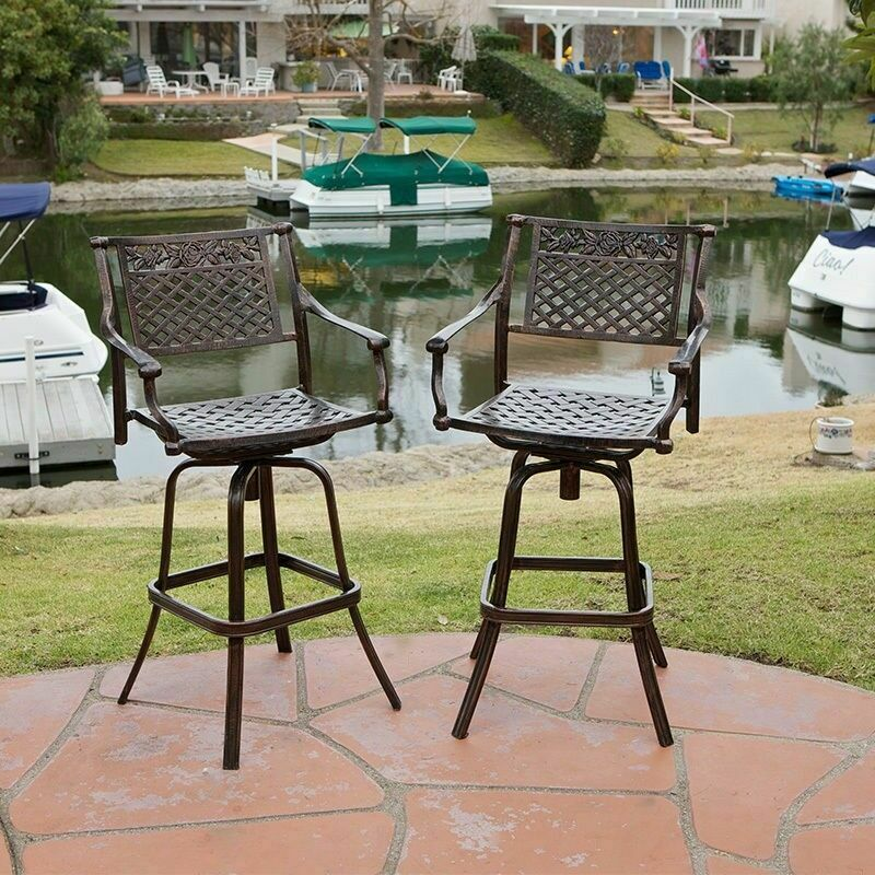 Set of 2 Outdoor Patio Furniture Cast Aluminum Swivel Bar  : s l1000 from www.ebay.com size 800 x 800 jpeg 191kB
