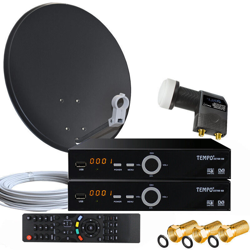 2 teilnehmer camping sat anlage 60cm spiegel 2x digitale sat receiver twin lnb ebay. Black Bedroom Furniture Sets. Home Design Ideas