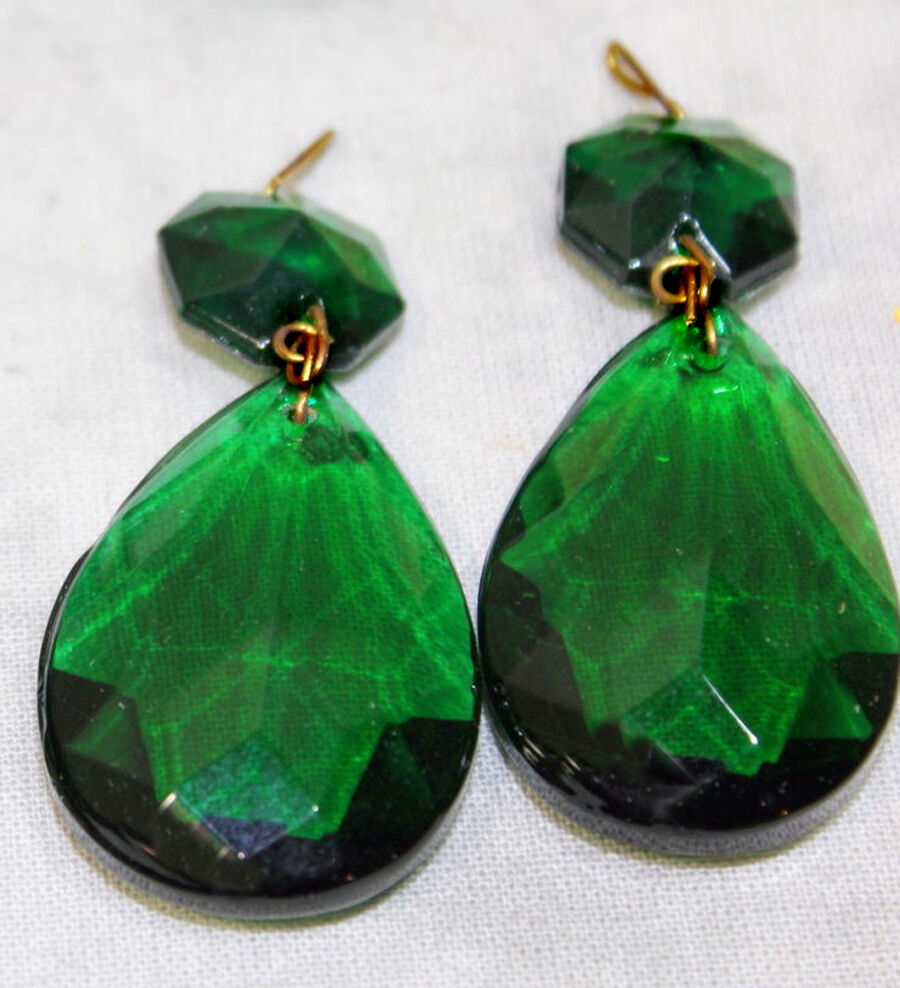 LOTof5 Vintage Emerald Green German glass Crystal Prism ...