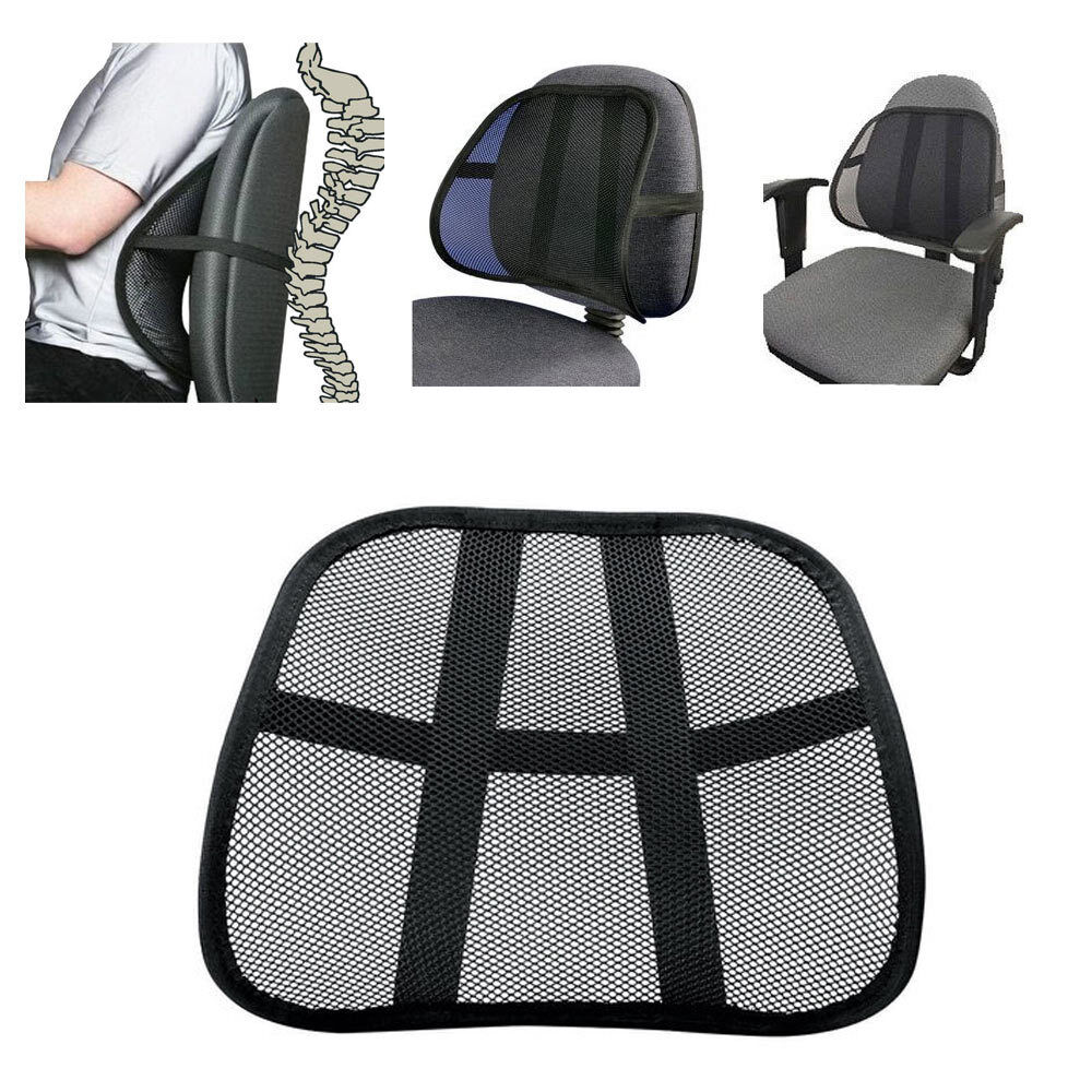 cool vent cushion mesh back lumbar support new car office chair truck seat black ebay. Black Bedroom Furniture Sets. Home Design Ideas