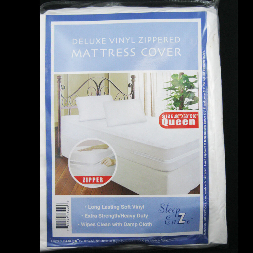 Queen Size Zippered Mattress Cover Vinyl Protector Allergy