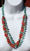 "Vintage Turquoise Natural Red Coral Heishi Beads 3 Strand Necklace 25.5""L"