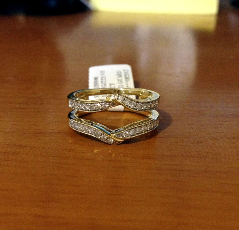 Solitaire Enhancer Diamonds Ring Guard Wrap Yellow Gold