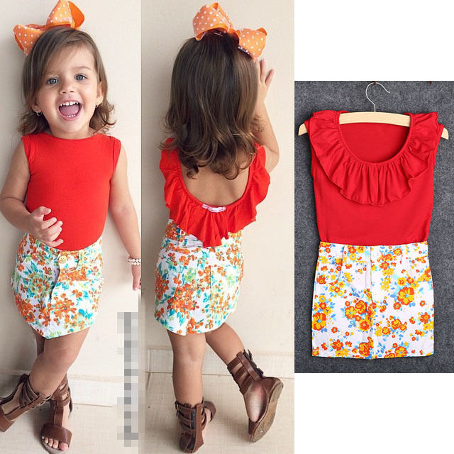 2017 Summer 2pcs Outfits Kids Baby Girls Red Tops+Floral Pencil Skirts Dress Set | eBay