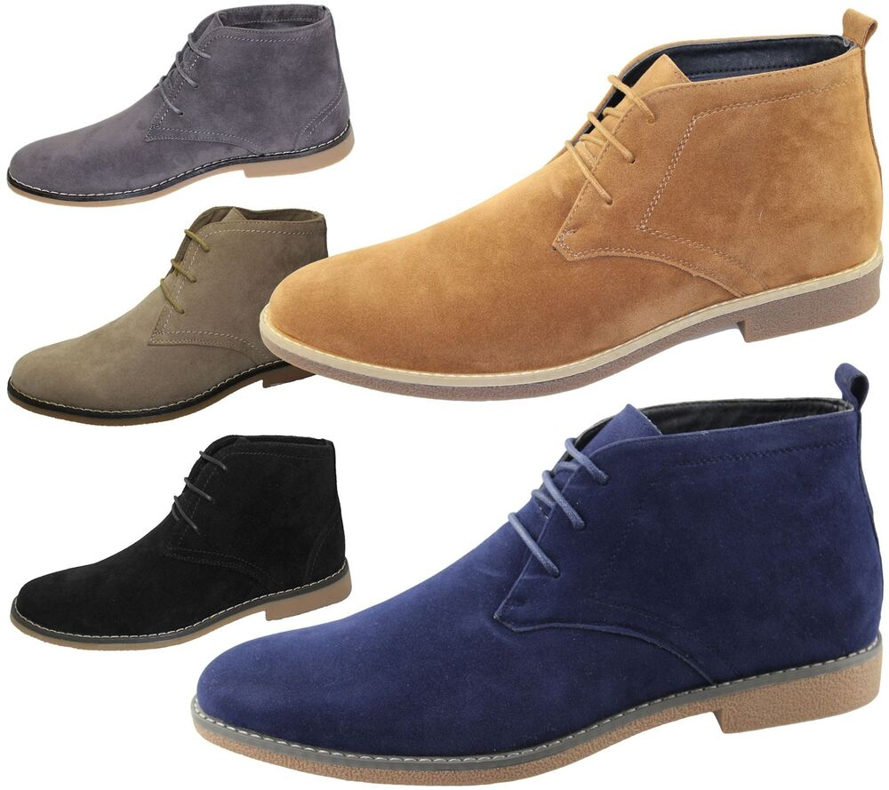 Mens Suede Desert Boots Winter Ankle High Top Classic ...