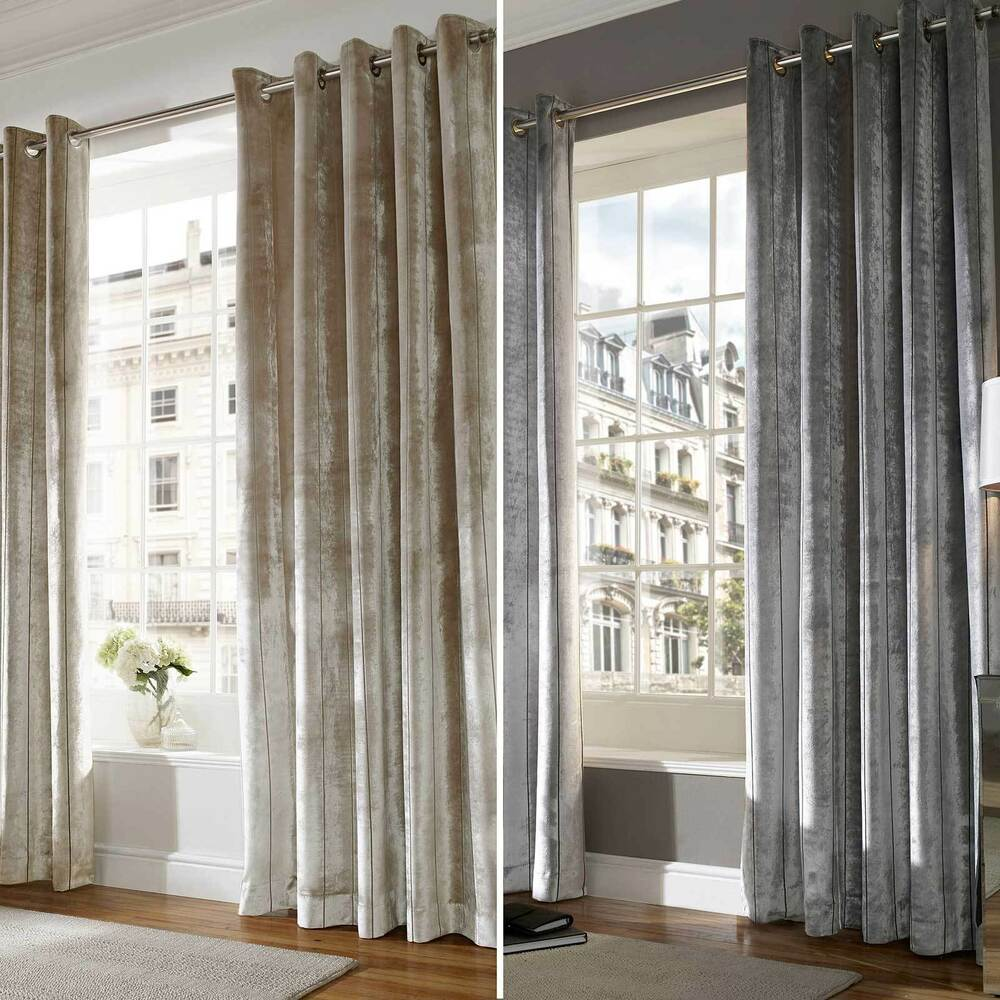 designer valances velvet designer ready made lined eyelet ring top curtains drapes ebay 6556