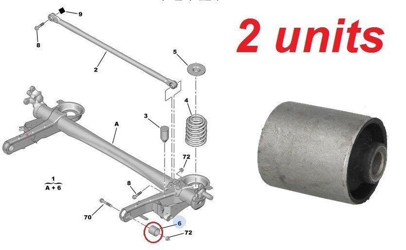 2 pieces new rear axle bushes citroen c8 fiat ulysse. Black Bedroom Furniture Sets. Home Design Ideas