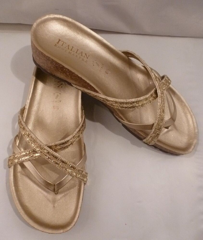 New Italian Shoemakers Gold Obsess Strappy Flip Flop